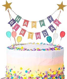 Phoetya Alles Gute zum Geburtstag Kuchen Topper Bunting Set, Regenbogen Kuchen Dekorationen mit 6 Stück Mini Bunte Ballon Cupcake Topper für Kinder Geburtstagsfeier liefert Dekoration