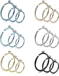 الأنف خواتم هوب للرجال النساء غضروف هوب أقراط D-Shape 2mm CZ Nose Rings Piercing Stainless Steel Tragus Helix Septum Lip R...