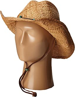 Raffia Western with Turquoise Trim and Chin Cord