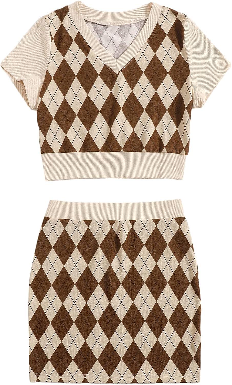 Verdusa Women's 2 Piece Outfit Argyle Print Short Sleeve Top and Mini Skirt Set