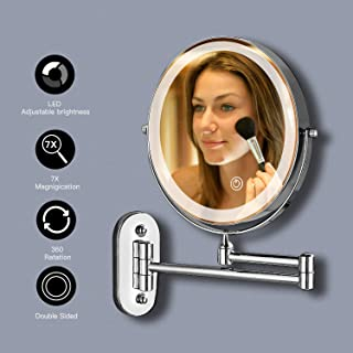 Double sided LED Makeup Mirror 8 inch with 7x Magnification LED Touch Dimming Bathroom Mirrors Wall Mounted 360° Swivel Extending Folding for Hotel Vanity Battery Operated