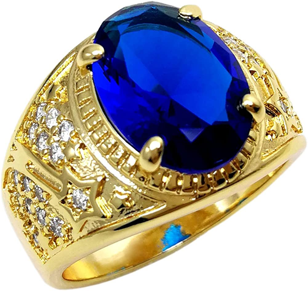 Ahappy-18k Gold Filled Men's Wedding Engagement Blue Stone Ring Band R283blue