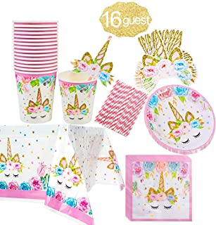 Unicorn Themed Party Supplies Set,Unicorn Cake Plates,Cups,Napkins,Tablecloth,Straws&Decoration,Paper Disposable Tableware Set for Girls Children Birthday Party or First ,Baby Shower, Serves 16 Guests