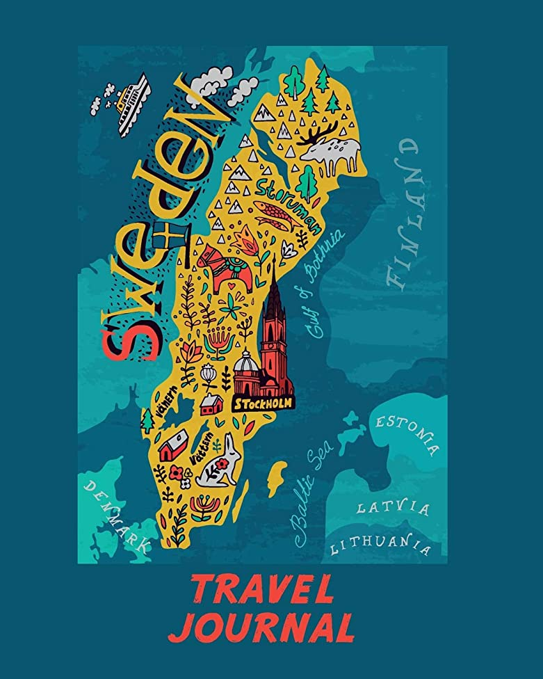 Travel Journal: Map Of Sweden. Kid's Travel Journal. Simple, Fun Holiday Activity Diary And Scrapbook To Write, Draw And Stick-In. (Scandinavia Map, Vacation Notebook, Adventure Log)