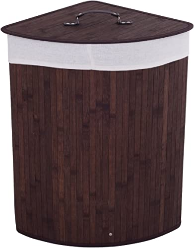 popular Giantex Corner Laundry Hamper with Lid, outlet sale Bamboo Laundry Basket with Removable Liner and Handle, Clothes Basket for Cloth Organize, 2021 Clothes Storage Bin for Bedroom, Laundry, Living Room (Brown) outlet sale