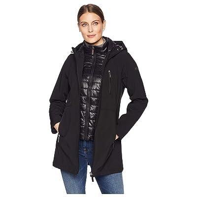 Calvin Klein Softshell Jacket with Packable Bib Insert (Black) Women