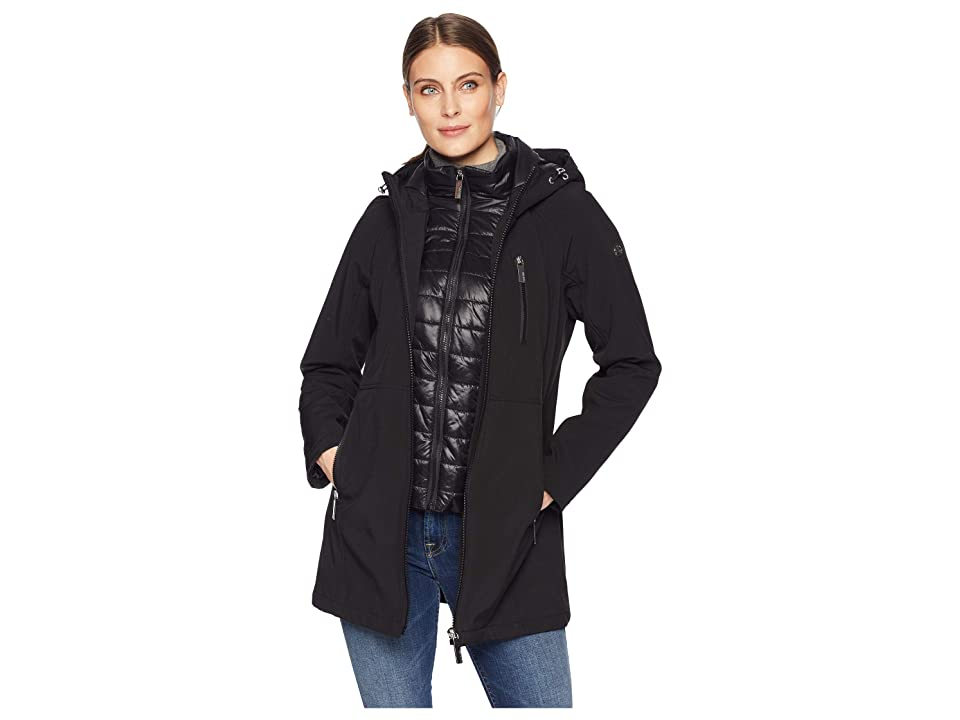 Calvin Klein Softshell Jacket with Packable Bib Insert (Black) Women