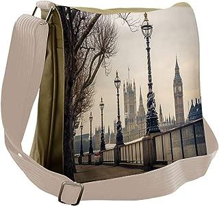 Casual Canvas Shoulder Bag London Eiffel Tower Big Ben Travel Work College New Version
