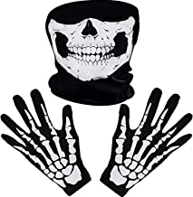 White Skeleton Gloves and Skull Face Mask Ghost Bones for Adult Halloween Dance Costume Party (1)