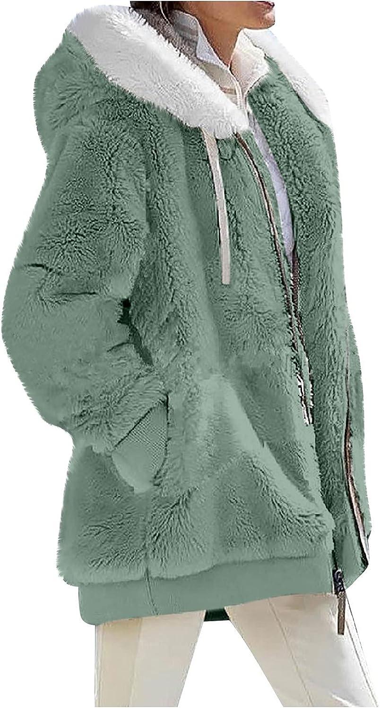 Faux Fur Coats for Women Winter Fleece Fuzzy Long Sleeve Zip up Cardigan Outwear Warm Hooded Coat