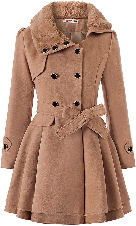 WORUIJIA Women's Fashion Faux Fur Lapel Double-Breasted Thick Wool Trench Coat Jacket Winter Coats for Women