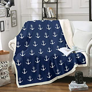 Ocean Nautical Plush Blanket Anchor Printed Sherpa Blanket for Kids Adults Sea Adventure Surfing Fleece Throw Blanket Soft Luxury Fuzzy Blanket for Sofa Bed Couch,Navy Blue,Throw 50x60 Inch