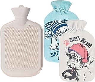 بطری آب گرم WINNPRIME 2 لیتر ، کیسه آب گرم گرم لاستیکی طبیعی با 2 عدد پوست نرم نرم قابل تعویض ، عالی برای تسکین درد ، کمپرس گرم و گرما درمانی