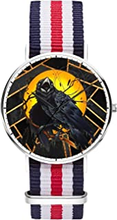 Customized Watercolor Floral Skull Wrist Watch, Blue White Red White Blue Nylon Watch Band Black Dial Plate Men 40mm Fashionable Wrist Watch for Men