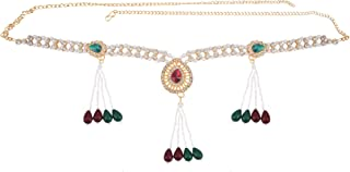 Archi Collection Traditional Fashion Jewellery Red and Green Gold-Plated Crystal Tassel Kamarband Waist Chain for Women