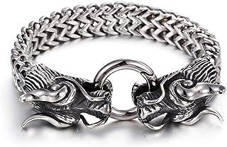 En acier inoxydable pour homme en cuir véritable double tête de dragon Fermoir Bracelet Jonc