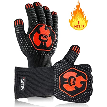 Mr. Smith BBQ Grill Gloves. Oven Mitts Protect to 1472 ºF, Extreme Heat Resistant Gloves with Multiple Advanced Layers, Comfortable Cotton Inside, Non-Slip Grip. 1 Pair, Black.