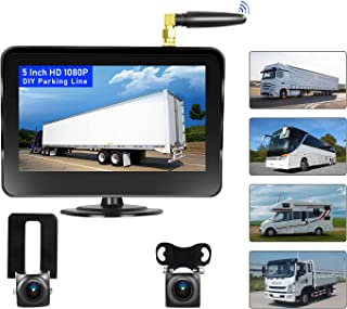 $129 » Camecho Vehicle Wireless Backup Camera 5 Inch 2 Split Monitor, Hitch Front Rear View Camera Adjustable Guide Line IP 68 Wa...