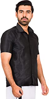 JISB Men's Dupion Cotton Silk Slub Ethnic Shirt