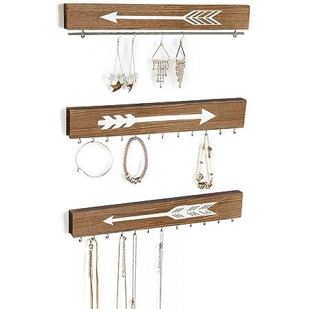 Jewellery display rack Wall art display for jewellery necklaces etc 21 hooks Oak wood Rustic Woodland rack Wall mounted live edge rack