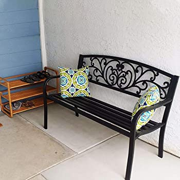 Garden Bench Outdoor Bench Patio Bench Cushions for Outdoors Metal Porch Work Entryway Steel Frame Furniture for Yard