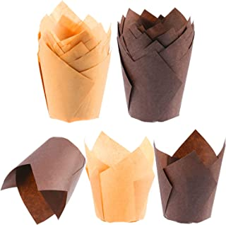 200 Pieces Tulip Cupcake Liner Baking Cups Paper Cupcake and Muffin Baking Cups for Weddings and Birthday (Brown and Nature Color)