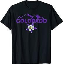 Colorado mountain silhouette, Columbine state flower T shirt