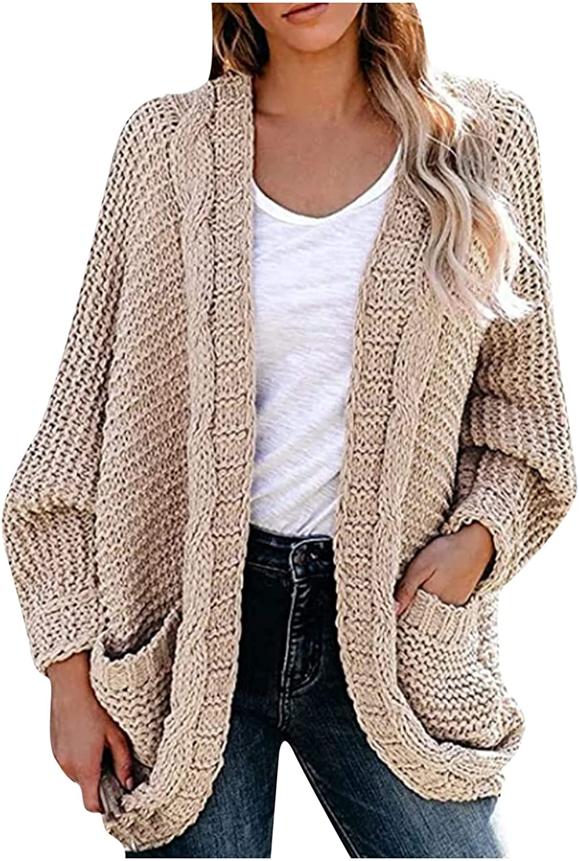 MINzYI Casual Sweater for Women, Ladies Autumn Winter Long Sleeve Open Front Chunky Knit Cardigan Sweater Outwear Coat