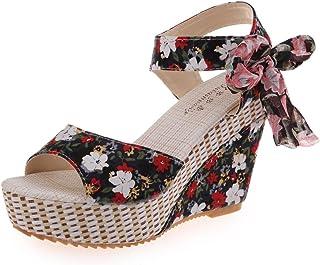 03ab074fe9fd49 ❉Sandales Compensées Femme Sandales Talon Compensé Chaussures Tongs Sandales  Talons Hauts Bout Ouvert Plate-