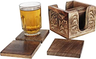 Christmas Sale Set of 6 Square Wooden Coasters with Hand Engraved Holder- For Tea & Coffee Cups, Mugs, Beverages, Glass Drink Mats