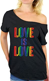 Love is Love Off Shoulder Shirt Women's Gay Pride Baggy Shirt