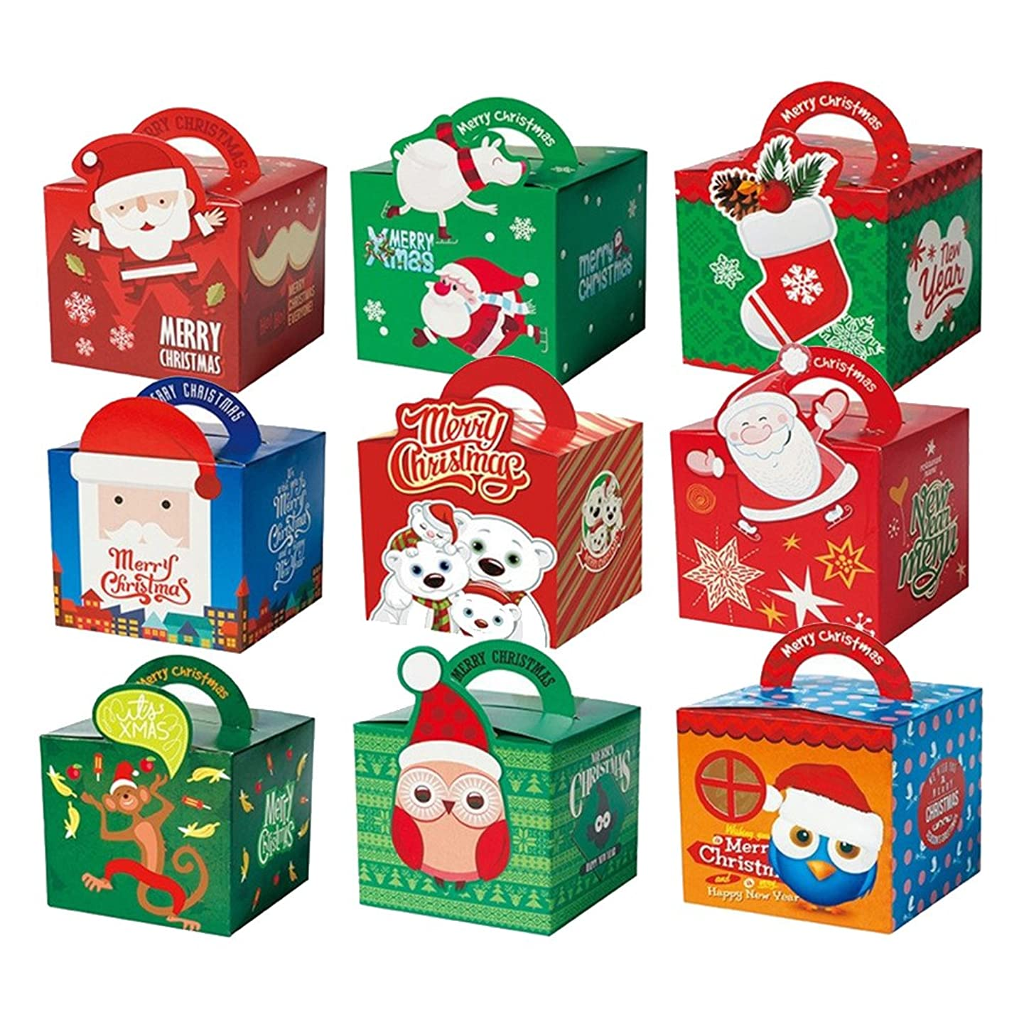 Christmas Gift Boxes Candy Box Party Favor Christmas Eve Box Xmas Party Bags Gift,12 Piece Pack (3D Style 1)