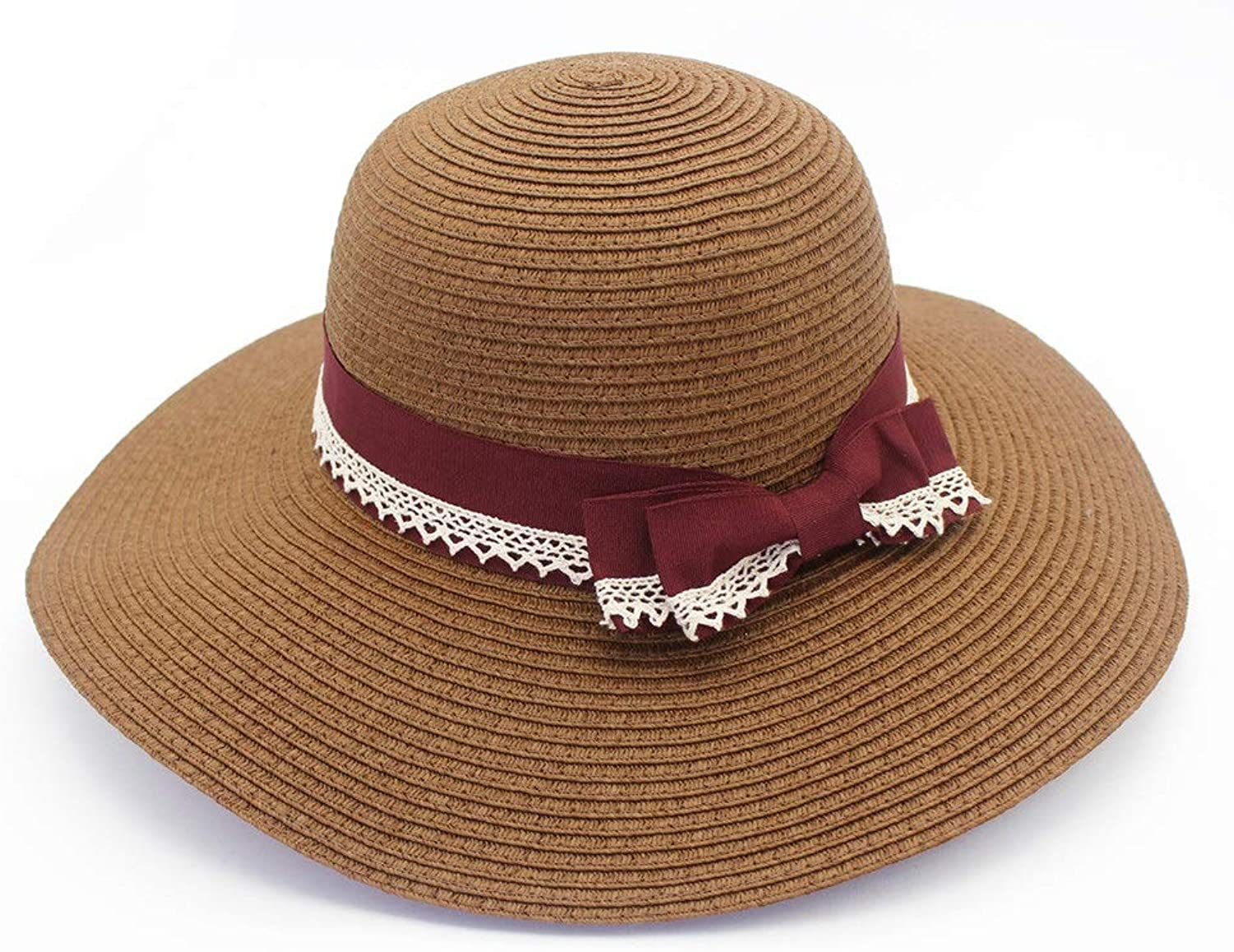 Lady Straw Hat Beach Big Fisherman with Butterfly Decoration Sunhat
