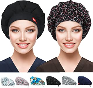 2 عبوة من قبعات العمل مع زر وعصابة رأس، قبعات عمل قابلة للتعديل للنساء والرجال، غطاء رأس العمل مقاس واحد