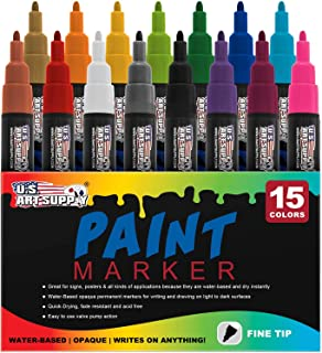 Water Based Premium Paint Pen Markers from U.S. Art Supply - 15 Color Set of Fine Point Tips - Permanent Ink - Works on Most Surfaces Glass, Wood, Metal, Rubber, Rocks, Stone, Arts & Crafts