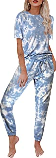 Byinns Womens Tie Dye Printed Tops and Pants Long Pajamas Set PJ Sets Nightwear Loungewear