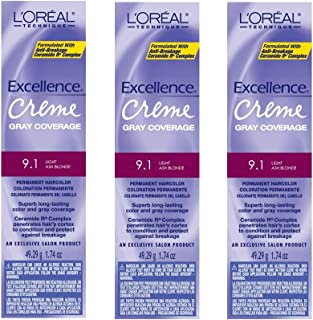 L'Oreal Excellence Creme 9.1 Light Ash Blonde Hair Tint HC-06214 (3 Pack)