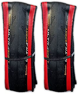Continental Ultra Sport II 700x25c Red / Black Road Bike Folding Tires - Pair 2 Tires