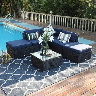 PHI VILLA Outdoor Rattan Sectional Sofa- Patio Wicker Furniture Set (6-Piece 3)