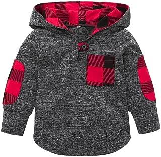 KONFA Toddler Baby Boys Girls Stylish Plaid Floral Pocket Hooded Coat,Kids Jackets Stretchy Cloak Tops Clothes