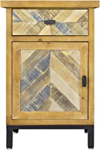 Heather Ann Creations Barnes 1 Drawer and 1 Door Distressed Parquet Accent Cabinet, Gray