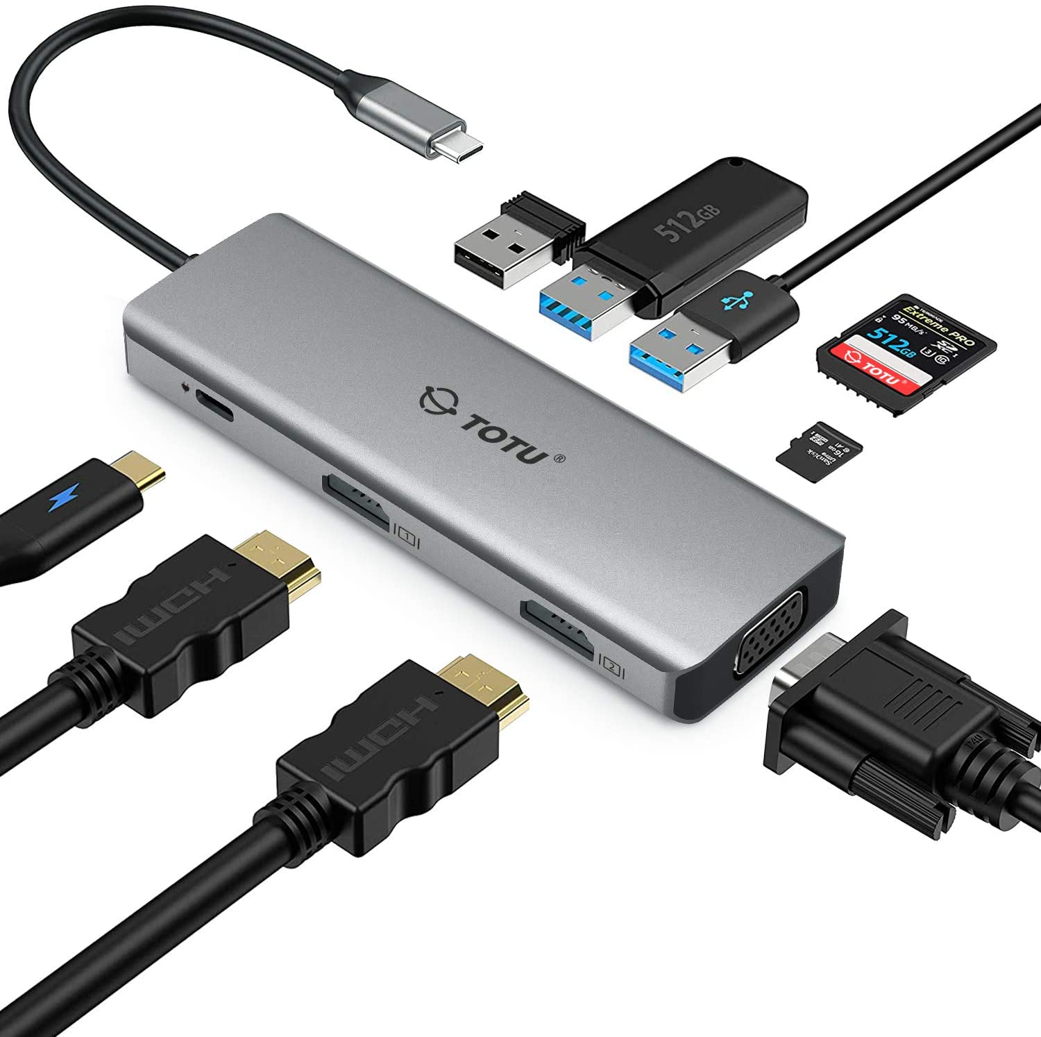 Docking Station, USB C Hub, TOTU 9 in 1 Triple Display Docking Station with Collage Display Mode, Dual 4K HDMI, VGA, 100W PD, 3 USB 3.0 and TF/SD Card Reader for MacBook Pro Air and Type-C Laptops