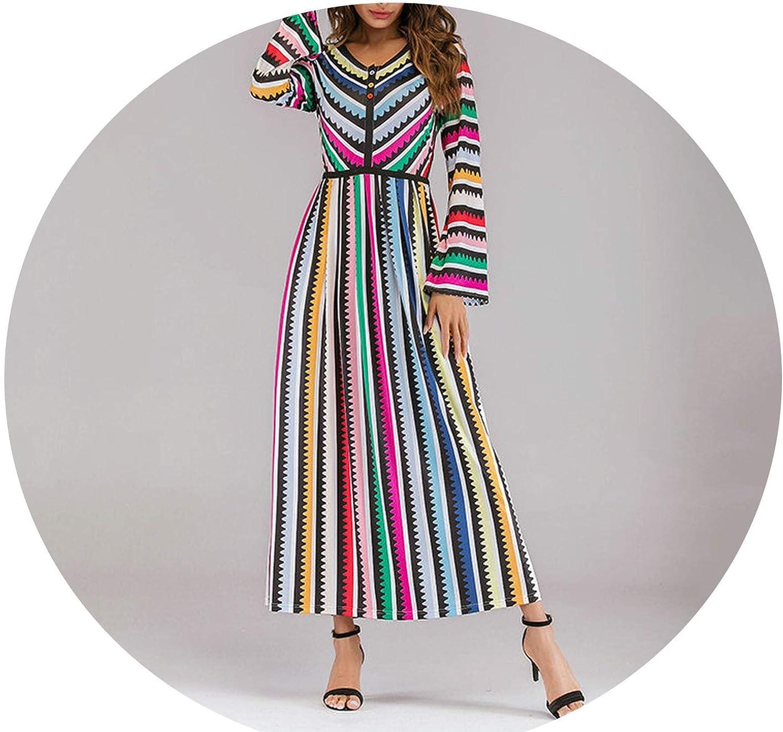 Ethnic Women Long Dress colord Stripe Patchwork Maxi A Line Dress Slim Fit V Neck Long Sleeve Beach Wear