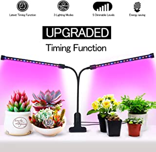 Amsuns 2019 Upgraded Led Grow Light for Indoor Plants, Timing Function 3 Working Modes 5 Dimmable Levels, 40W Sunlike with Full Spectrum Beads, Plant Light 360 Degree Adjustable Gooseneck