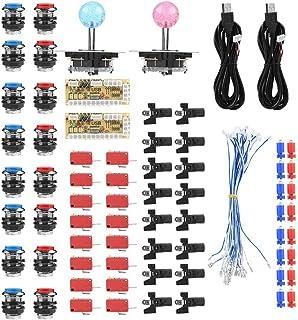 Ejoyous Arkadsats för 2 spelare, tillbehör till arkad noll Delay USB-kodare gör-det-själv-kit set spel USB-kabel LED-knapp...