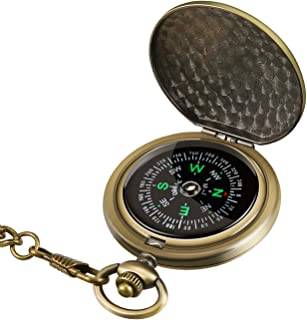 Intsun Retro Compass Portable Military Compass Fluorescent Glow Survival Gear Compass Outdoor Navigation Compass Tools for...
