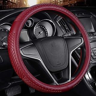 GuanRen Car Steering Wheel Cover Four Seasons Universal Feel Cómodo y Resistente al Desgaste Antideslizante Microfibra de Cuero (Color : Fashion Wine Red)