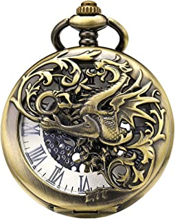 ManChDa Mens Mechanical Pocket Watch Dragon Hollow Double Hunter Hand Wind Steampunk Roman Numerals Dial with Chain + Gift Box