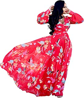 3c18de6fcb3b Womens Maxi Dress Boho Chiffon Floral Printed Long Dresses V-Neck Plus Size  (FBA