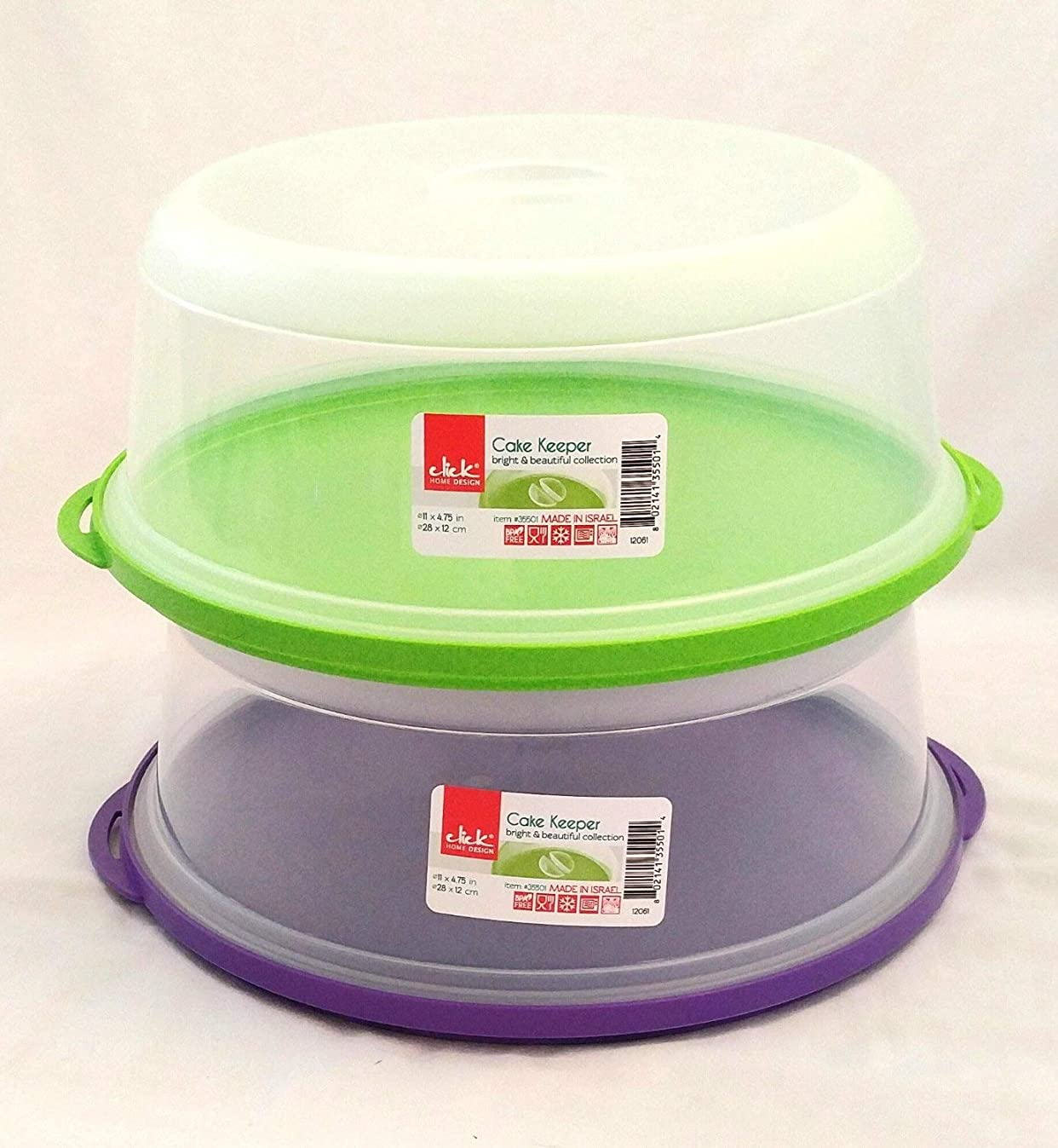 Set of 2 Click Home Design Cake Keeper (assorted colors)